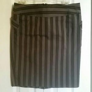 Pinstripe skirt / penguin